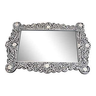 Black and Bone Inlay Mirror From Tangier