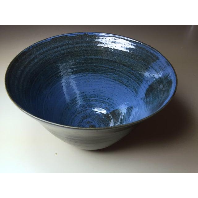 Image of Mid-Century Art Pottery Blue/Black Bowl, Signed