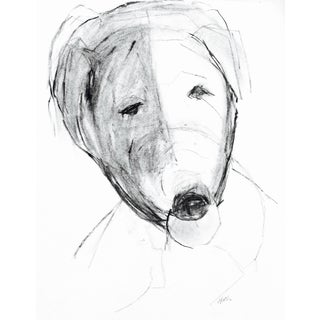 "Martha Holden ""Happy Dog"" Charcoal Drawing"