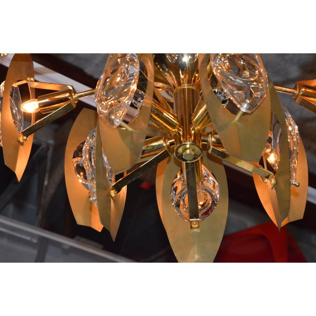 Brutalist Sonneman Brass and Cut Glass Chandelier - Image 5 of 6