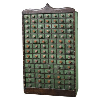 Vintage Green 90-Drawer Apothecary