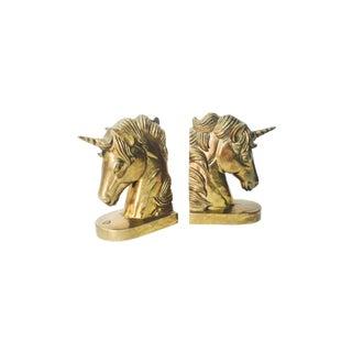 Vintage Brass Unicorn Bookends