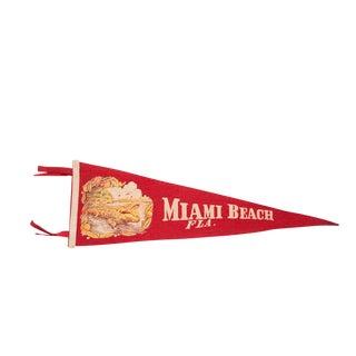 Miami Beach Florida Alligator & Palm Trees Felt Flag