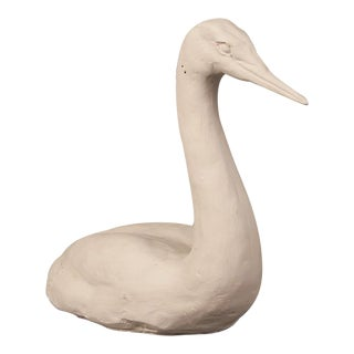 A plaster maquette sculpture of a swan on water from a private collection in France c. 1960 featuring an identifying mark on the back right