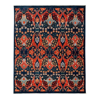 "Ziegler, Hand Knotted Navy Blue Floral Motif Area Rug - 7' 10"" X 9' 6"""