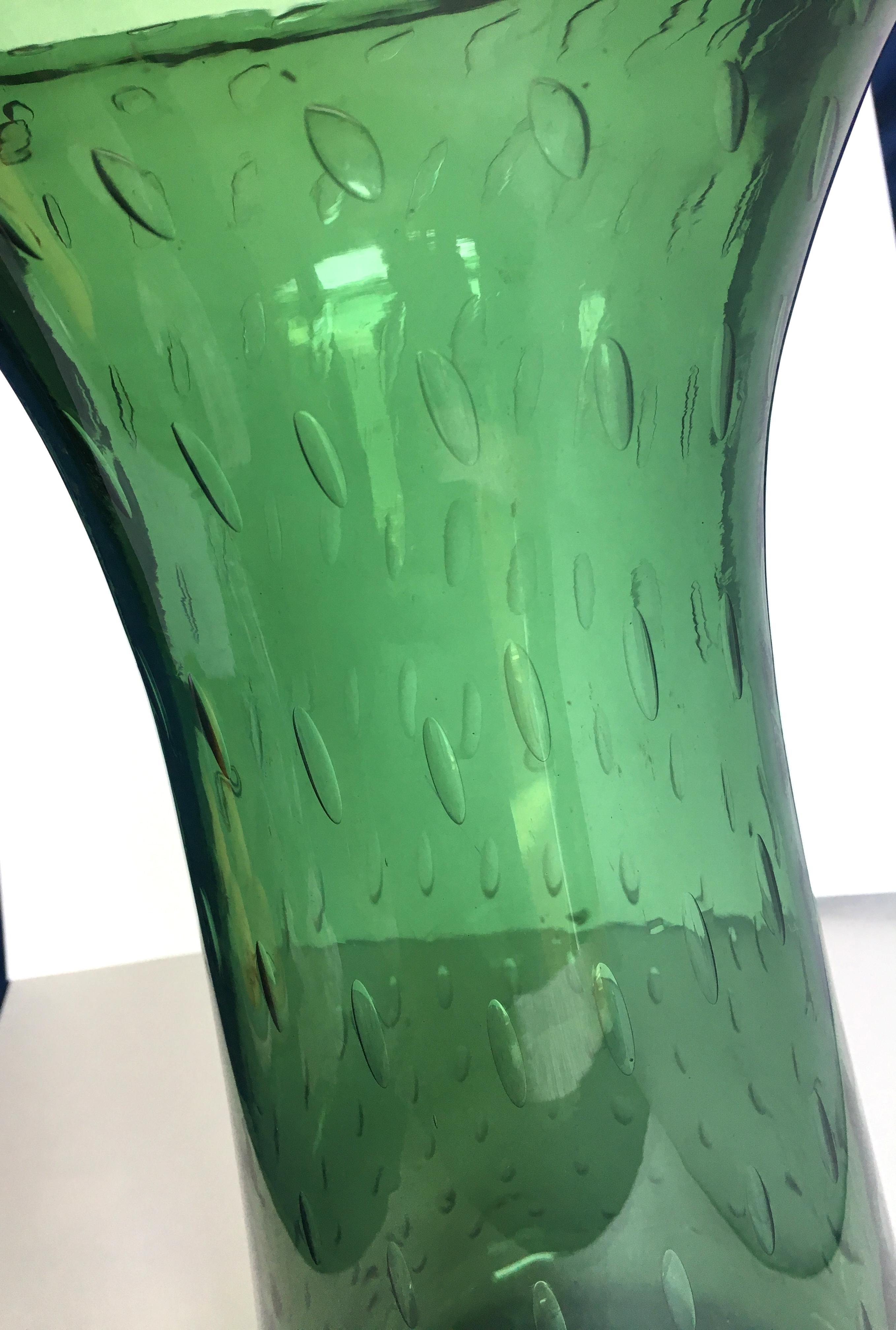 Vintage Blenko Green Controlled Bubble Floor Vase Chairish