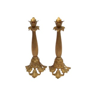 Acanthus Leaf Motif Brass Candle Holders - A Pair