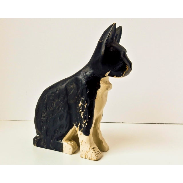 Hand-Carved Black & White Cat - Image 3 of 6