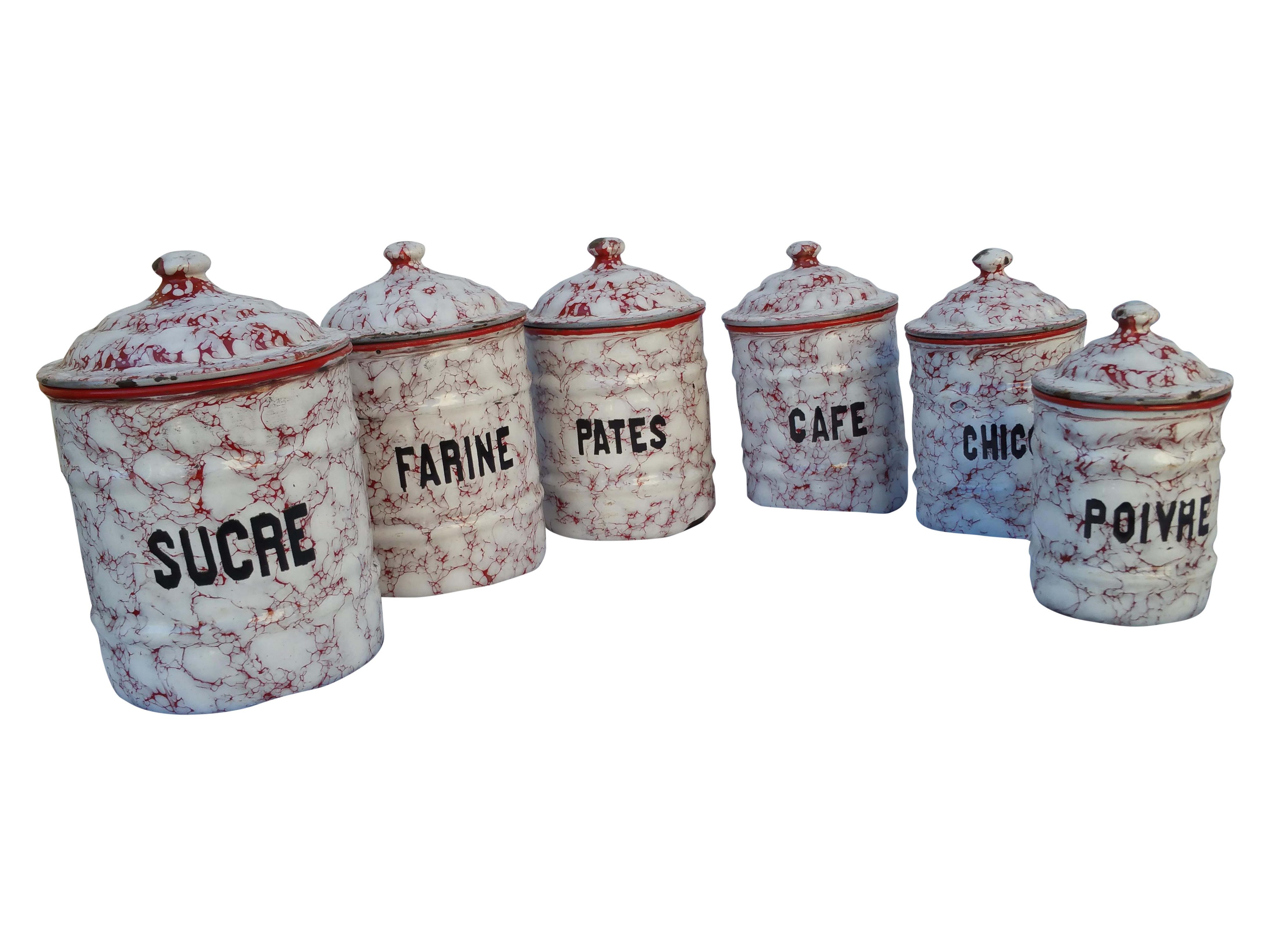 french red amp white kitchen canister set chairish french vintage aluminum canister set french kitchen