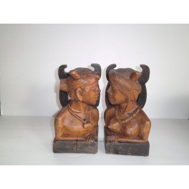 Hand Carved Wooden Bookends - Image 10 of 11