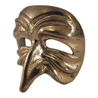 Mid-Century Modern Venetian Brass Mask Figurine