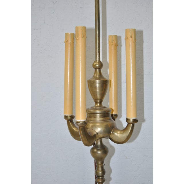 Image of Antique Brass Four Arm Candlestick Table Lamp