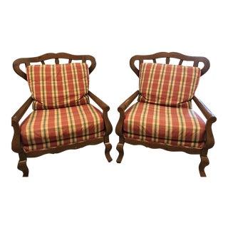 Wood Frame & Cushion Armchairs - A Pair