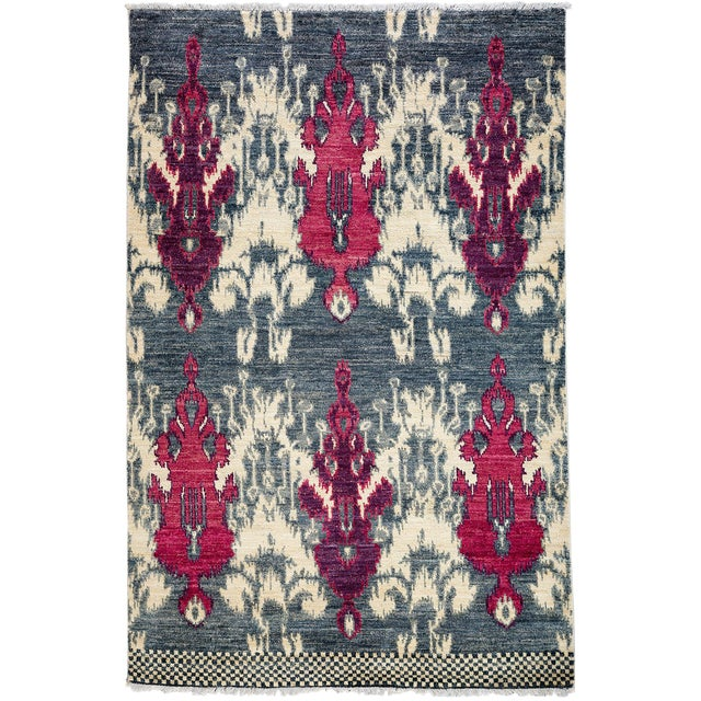 "Contemporary Ikat Hand Knotted Rug - 4' 7""x 7' - Image 1 of 3"