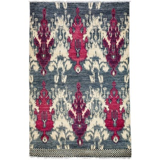 """Contemporary Ikat Hand Knotted Rug - 4' 7""""x 7'"""
