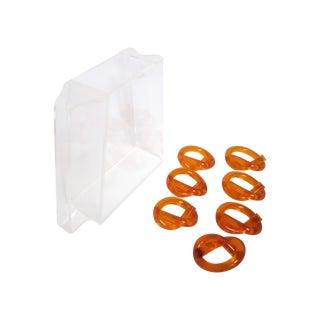 Lucite Pitcher  Orange Twist Napkin Rings Thorpe