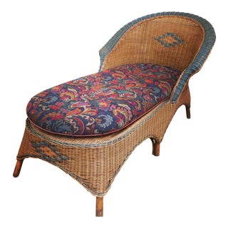 Vintage Wicker Chaise Lounge With Cushion