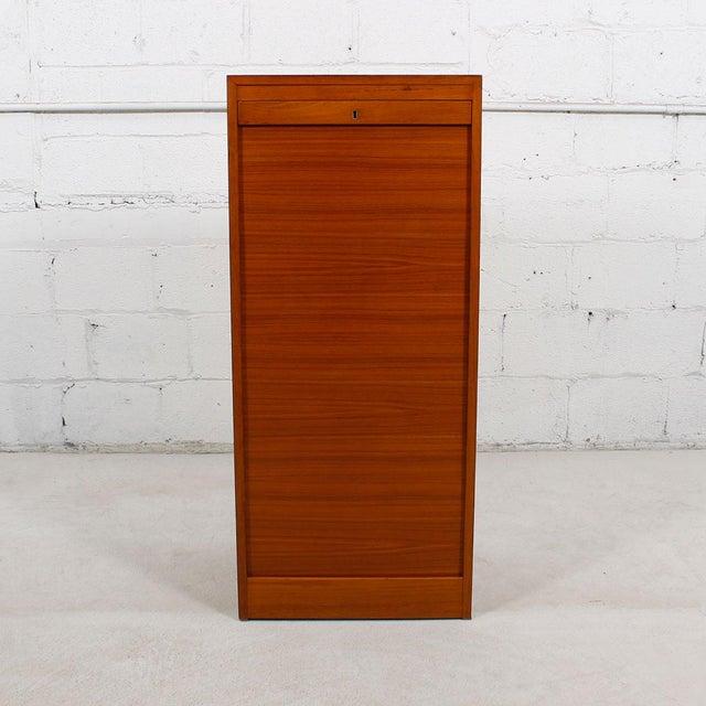 Tall Teak Locking Tambour Door Jewelry Cabinet - Image 4 of 9