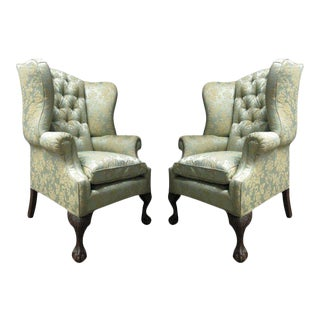Pair of Chippendale Style Tufted Wingback Chairs