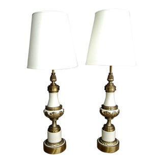 Hollywood Regency Brass & Ivory Stiffel Lamps - A Pair