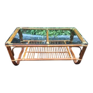 Mid-Century Rattan Bamboo Coffee Table