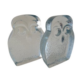 Vintage Blenko Glass Owl Bookends- A Pair