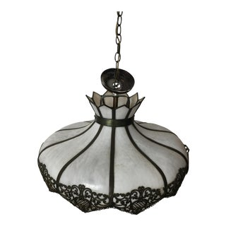 Art Deco Slag Glass Chandelier With Metal Detail