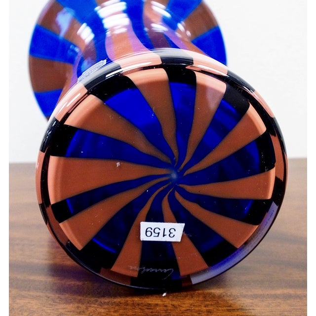 Cenedese Vintage Vetri Murano Glass Striped Vase - Image 7 of 7