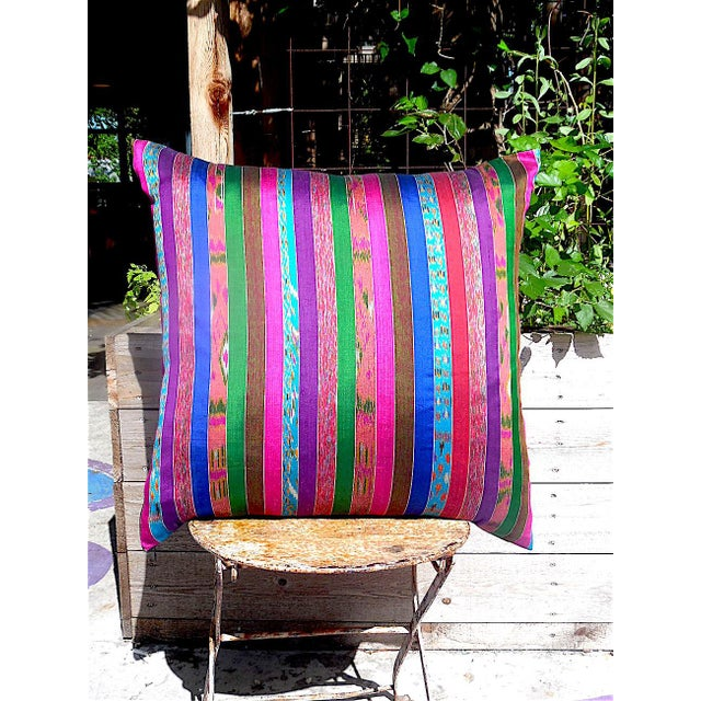 Silk Ikat Multi Stripe Floor Pillow - Image 4 of 7