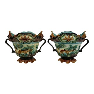 19th Century French Barbotine Cache Pots with Monkeys & Tigers - A Pair