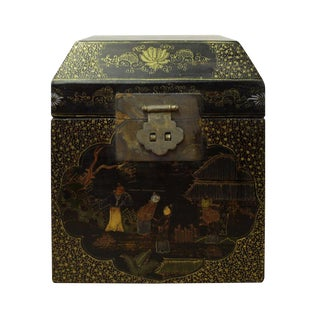 Chinese Black Golden Lacquer Graphic Square Shape Display Box