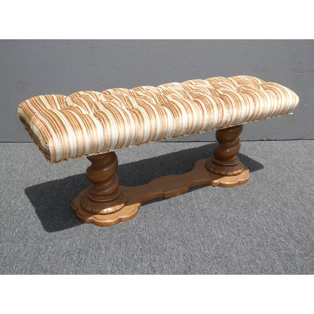 Vintage Mid-Century Tufted Stripped Bench - Image 6 of 10