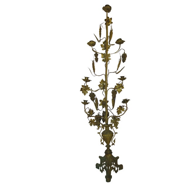 Tall Brass Floral Candleholder - Image 6 of 8