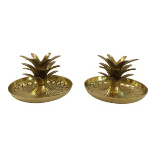 Vintage Brass Pineapple Candle Holders - A Pair