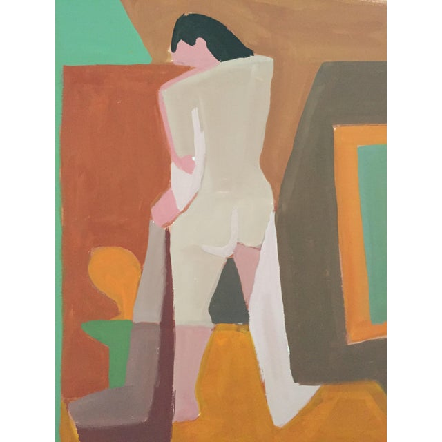 Image of Mid-Century Gouache Cubist Female Nude Painting