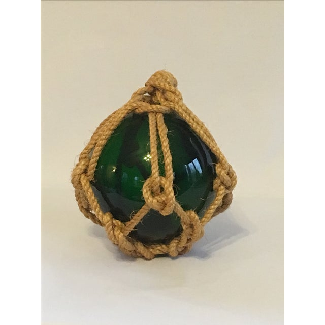 Green Glass Fishing Float with Netting - Image 3 of 7