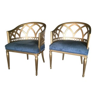 Mid-Century Gold Wood Barrel Back Chairs - Pair