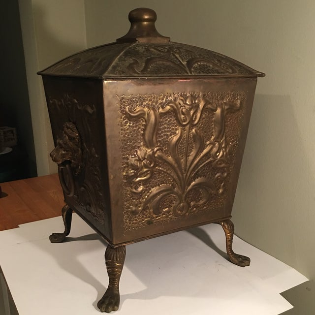 Antique Bronze Coal Bucket Fireplace Scuttle Lions Head Design - Image 3 of 4