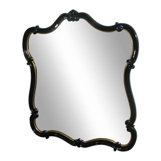 Black Lacquered Scalloped Mirror