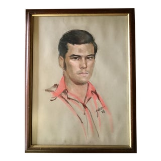 Mid-Century Modern Vintage Pastel Portrait of Handsome Young Man