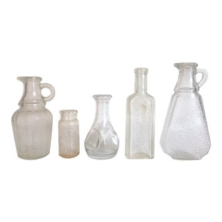 Vintage Early 1900's Clear Frosted Glass Apothecary Bottles - Set of 5