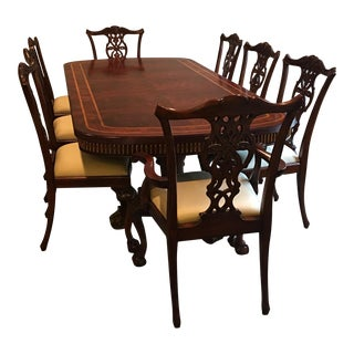 Maitland Smith Mahogany Dining Table & Chairs - Set of 9