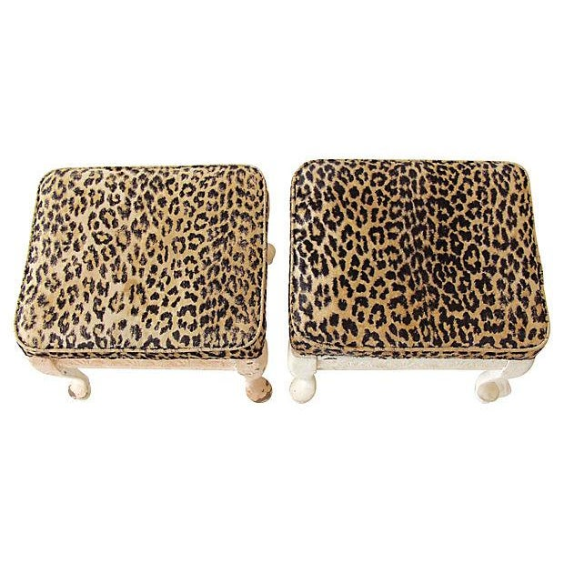 Leopard Print Footstools - A Pair - Image 2 of 5
