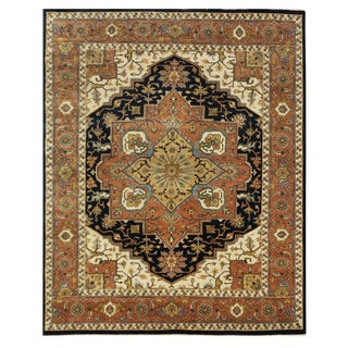 New Indian Tabriz Design Rug - 7′9″ × 9′6″
