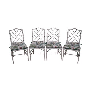 Custom Painted Chinese Chippendale Style Dining Chairs - Set of 4