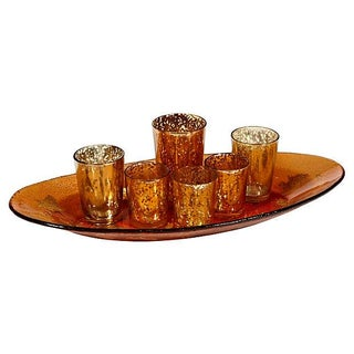 Gilt & Amber Glass Liquor Set - Set of 7