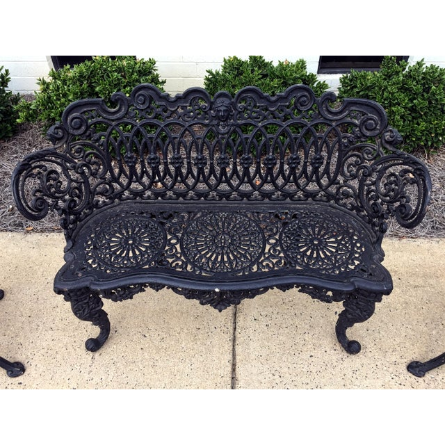 Adams navillus antique cast iron garden furniture set of Cast iron garden furniture