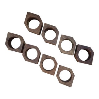 Mid-Century Teak Napkin Rings - Set of 8