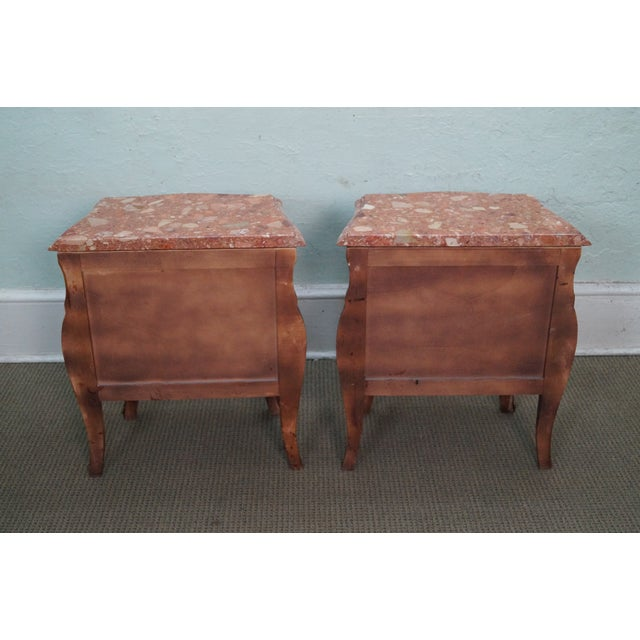 Image of French Louis XV Marble Top Bombe Chests - 2