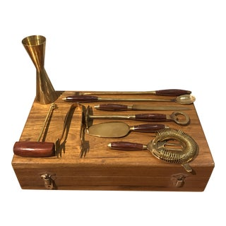 Rosewood & Brass Bar Tool Set